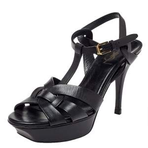 Saint Lauren Black Leather Tribute Platform Sandals Size 38