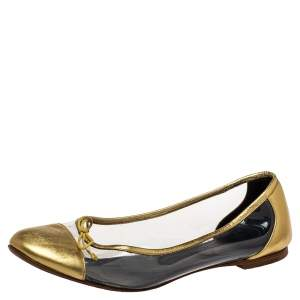 Saint Laurent Gold Leather And PVC Ballet Flats Size 39.5