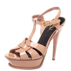 Saint Laurent Beige Patent Leather Tribute Ankle Strap Sandal Size 38