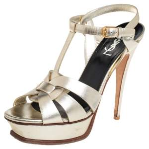 Saint Laurent Metallic Gold Leather Tribute Platform Ankle Strap Sandals Size 39.5