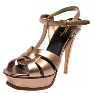Saint Laurent Metallic Brown Leather Tribute  Sandals Size 40