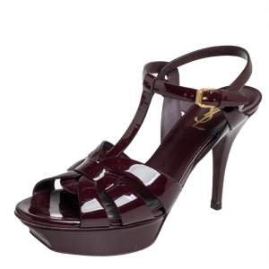 Saint Laurent Burgundy Patent Leather Tribute Ankle Strap Sandals Size 39.5