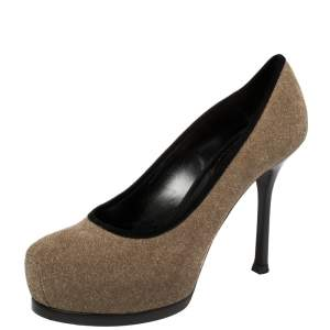 Saint Laurent Brown/Black Suede And Glitter Platform Pumps Size 36