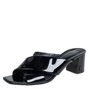 Saint Laurent Black Patent Leather Loulou Criss Cross Mules Size 39.5