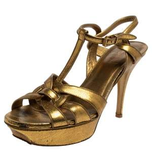 Saint Laurent Gold Leather Tribute Sandals Size 39