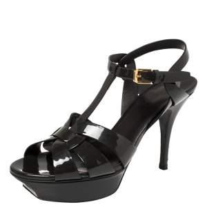 Saint Laurent Dark Grey Patent Leather Tribute Platform Ankle Strap Sandals Size 38