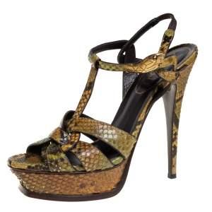 Saint Laurent Multicolor Snakeskin Leather Tribute Sandals Size 39