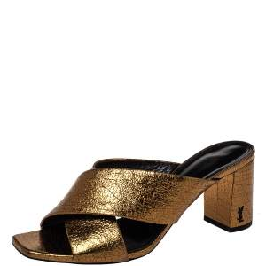 Saint Laurent Metallic Gold Leather Loulou Criss Cross Mules Size 38.5