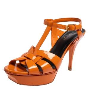 Saint Laurent Orange Patent Leather Tribute Sandals Size 40