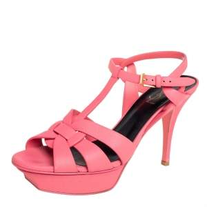Saint Laurent Pink Leather Tribute Ankle Strap Sandals Size 39.5