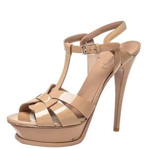 Saint Laurent Nude Patent Leather Tribute T-Strap Sandal Size 38.5