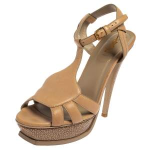 Saint Laurent Beige Leather and Textured Leather Ankle Strap Platform Sandals Size 40