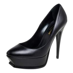 Saint Laurent Black Leather  Janis Platform Pumps Size 38