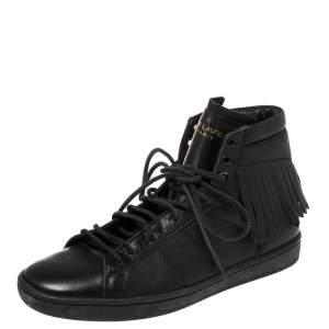 Saint Laurent Black Leather Classic Court Fringe Sneakers Size 36