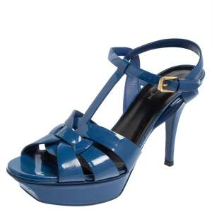 Saint Laurent Blue Patent Leather Tribute Sandals Size 39.5