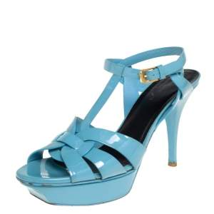 Saint Laurent Blue Patent Leather Tribute Platform Ankle Strap Sandals Size 40