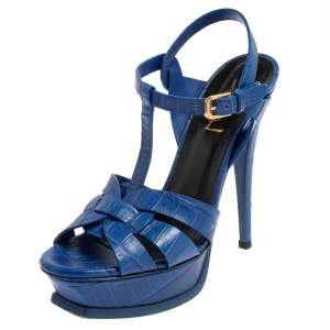 Saint Laurent Blue Croc Embossed Leather Tribute Sandals Size 36.5
