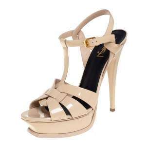 Saint Laurent Cream Patent Leather Tribute  Ankle Strap Sandals Size 40