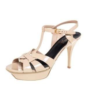 Saint Laurent Beige Patent Leather Tribute Platform Ankle Strap Sandals Size 41