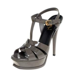 Saint Laurent Paris Grey Patent Leather Tribute Platform Sandals Size 37.5