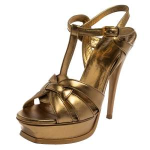 Saint Laurent Gold Leather Tribute Ankle Strap Sandals Size 38