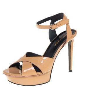 Saint Laurent Beige Patent Leather Crisscross Ankle Strap Sandals Size 38