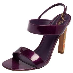 Saint Laurent Purple Patent Leather Slingback Sandals Size 40
