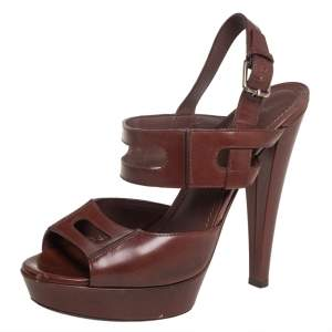 Saint Laurent Brown Leather Platform Ankle Strap Sandals Size 37