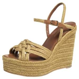 Saint Laurent Beige Braided Jute Platform Wedge Ankle Strap Sandals Size 39