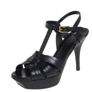 Saint Laurent Black Lizard Embossed Leather Tribute Platform Sandals Size 37