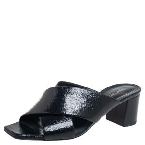 Saint Laurent Black Leather Lou lou Sandals Size 37