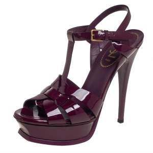 Saint Laurent Purple Patent Leather Tribute Sandals Size 37