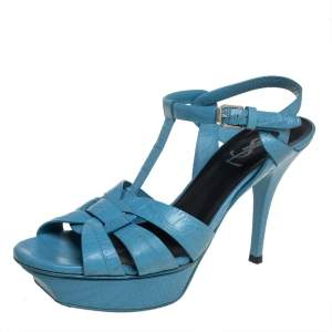 Saint Laurent Blue Leather Tribute Sandals Size 38
