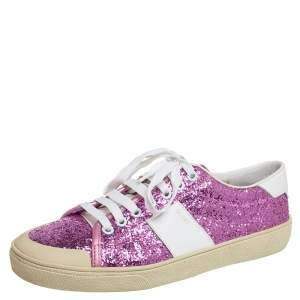 Saint Laurent Pink/White Glitter And Leather Low Top Sneakers Size 39
