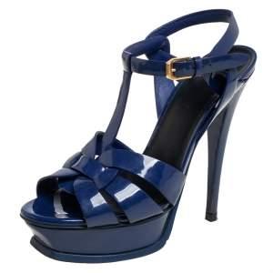 Saint Laurent Blue Patent Leather Tribute Sandals size 36