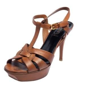 Saint Laurent Tan Leather Tribute Platform Sandals Size 38.5