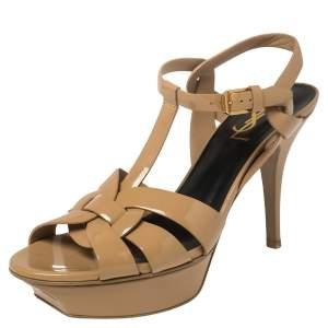 Saint Laurent Beige Patent Leather Tribute Sandals Size 38.5