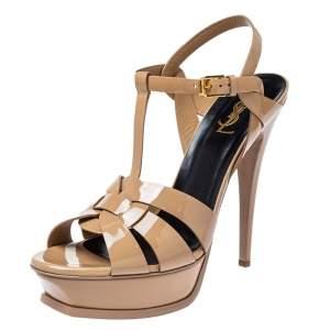Saint Laurent Beige Patent Leather Tribute Platform Ankle Strap Sandals Size 40.5