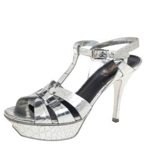 Saint Laurent Silver Croc Embossed Leather Tribute Platform Ankle Strap Sandals Size 37.5