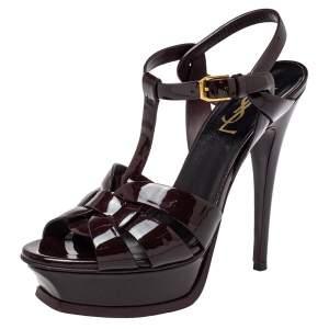 Saint Laurent Brown Patent Leather Tribute Sandals Size 37