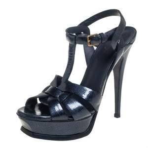 Saint Laurent Blue Patent Leather Tribute Sandals Size 36.5