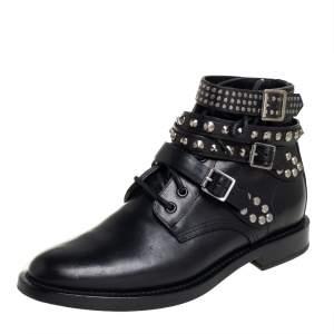 Saint Laurent Black Leather Studded Rangers Ankle Boots Size 39.5