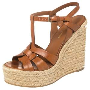 Saint Laurent Brown Leather Tribute Espadrille Wedge Platform Sandals Size 38