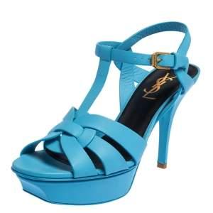 Saint Laurent Powder Blue Leather Tribute Sandals Size 36