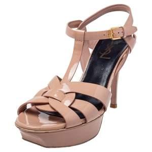 Saint Laurent Beige Patent Leather Tribute Platform Ankle Strap Sandals Size 37.5