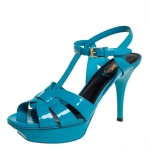 Saint Laurent Blue Patent Leather Tribute Platform Ankle Strap Sandals Size 38