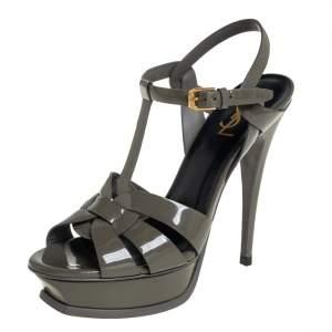 Saint Laurent Olive Green Patent Leather Tribute Platform Ankle Strap Sandals Size 39.5