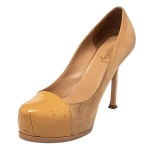 Saint Laurent Beige Suede And Patent Leather Tribtoo Pumps Size 37.5