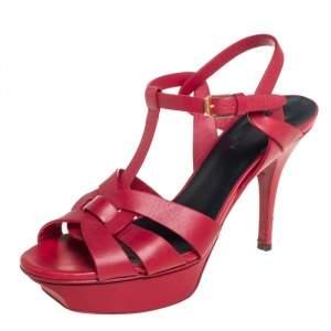Saint Laurent Red Leather Buckle Tribute Sandals Size 38