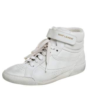 Saint Laurent White Leather High Top Sneakers Size 36